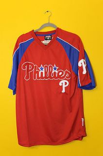 Stitches MLB Philadelphia Phillies letter red jersey shirt mens M $55