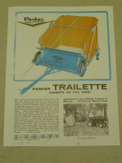 VINTAGE PARKER LAWN SWEEPERS SPEC SHEET for WHEEL HORSE TRACTORS