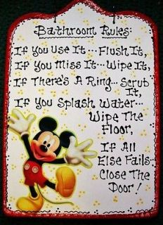 Bathroom Rules Disney MICKEY MOUSE SIGN Bath Sign Handcrafted Plaque