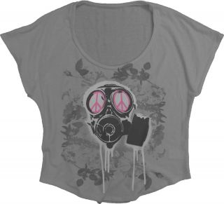 Ladies Junior Sizes Dogpile Dog Gas Mask Peace Symbol T shirt top tee