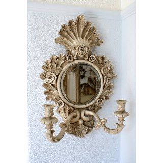 FRENCH SHABBY CHIC MIRROR CANDLE HOLDER / WALL SCONCE