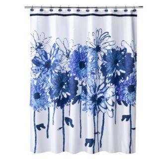 Black White Floral Shower Curtain Hooks Set