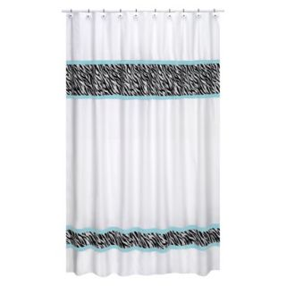 Sweet Jojo Designs Zebra Shower Curtain   Turquoise product details
