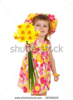 Cute Little Girl Giving Flowers. Studio Shot Stock Photo 28766620