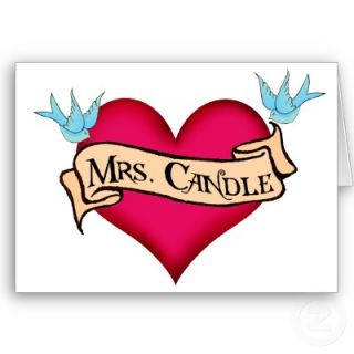 Mrs. Candle Custom Heart & Banner Tattoo Gifts Cards from Zazzle