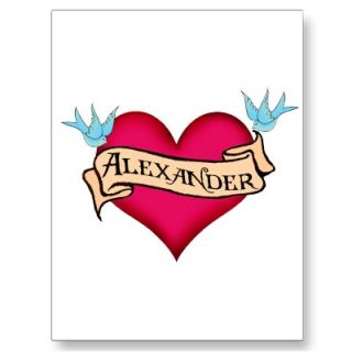Alexander   Custom Heart Tattoo T shirts & Gifts Postcards from Zazzle
