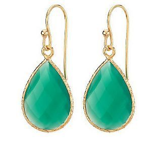 Gemstone Teardrop 18K Yellow Gold Plated Sterling Earrings —