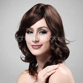 100% Human Hair Shoulder length Dark Red Long Curly Wig   USD $ 119.69