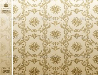 Seamless flower wallpaper Pattern beige  Vector Stock © Extezy