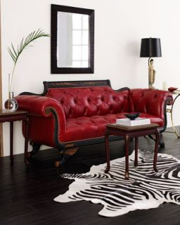 Old Hickory Tannery Red Tufted Leather Sofa & Loveseat   The Horchow