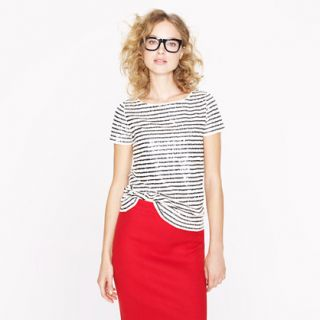 Sequin stripe tee   blouses   Womens shirts & tops   J.Crew