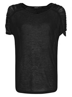 Buy Mango Fringed Loose fit T Shirt, Black online at JohnLewis