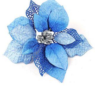 EUR € 1.19   Navidad azul ornamentales flores de plástico con polvo