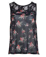 Black Pattern (Black) Black Chiffon Poppy Print Sleeveless Top