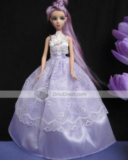 Wholesale Crochet Flower Ballgown Girl Barbie Doll Dress Clothes