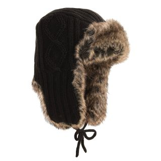 Auclair Cable Knit Ear Flap Hat   Faux Fur (For Men and Women)   Save