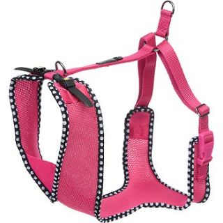 Adjustable Mesh Harness for Big and Tall Dogs in Pink with Polka