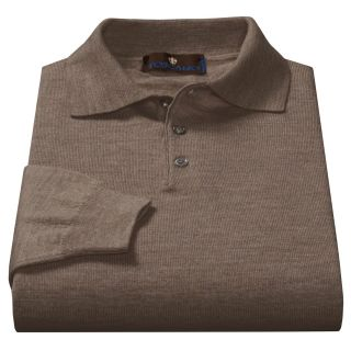 Toscano Polo Sweater   Italian Merino Wool (For Men) in Brown Melange