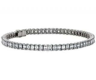 Emerald Cut Diamond Tennis Bracelet in Platinum (7.67 ct. tw.)  Blue