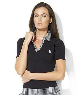 Lauren Active Anetta V Neck Stretch Cotton Gingham Polo Shirt