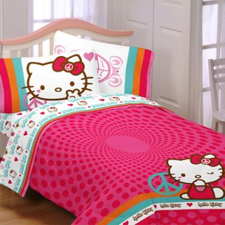 Hello Kitty Peace Microfiber Bedding Comforter   Twin/Full  Meijer