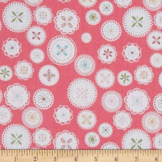 Riley Blake Polka Dot Stiches Doily Pink   Discount Designer Fabric