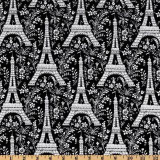 Michael Miller Eiffel Tower Black   Discount Designer Fabric   Fabric