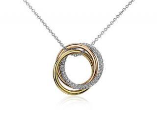 Infinity Trio Diamond Pendant in 14k Tri color Gold (1/3 ct.tw