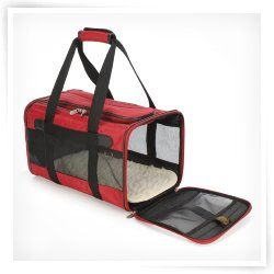 Sherpa Original Deluxe Red and Black Pet Carrier Airline Approved