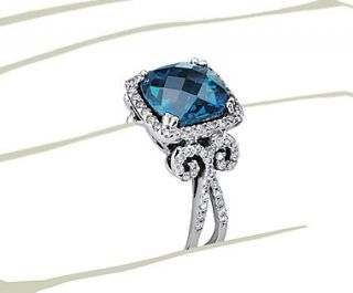 London Blue Topaz and Diamond Scroll Ring in 14k White Gold  Blue