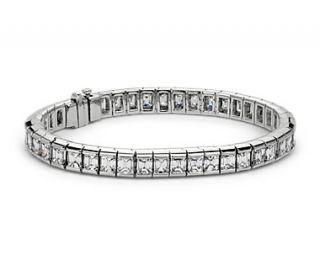 Bezel Set Emerald Cut Diamond Tennis Bracelet in 18k White Gold (15.68