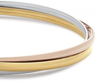 Trio Bangle Bracelet in 14k Yelow, White and Rose Gold  Blue Nile