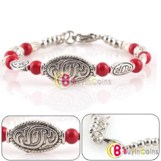 New Elegant Charming Tibet Silver Heart Red Turquoise Beads Bracelet