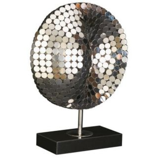 Stainless steel construction. Mirrored disc mosaic. Black marble base.