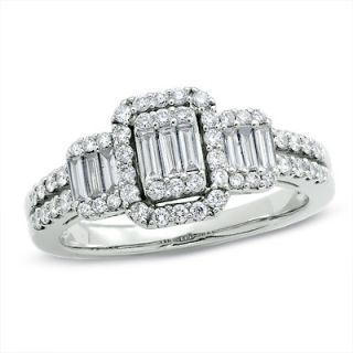 CT. T.W. Multi Baguette Diamond Three Stone Ring in 14K White Gold
