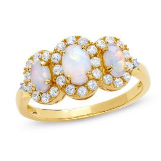 Lab Created Opal and White Sappphire Three Stone Ring in 14K Gold with