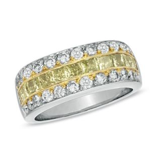 CT. T.W. Fancy Yellow and White Diamond Ring in Two Tone