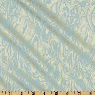 Satin Jacquard Shirting Ivory/Blue   Discount Designer Fabric