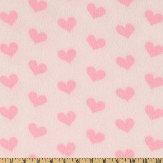 WinterFleece Hearts Fleece Print Light Pink   Discount Designer Fabric