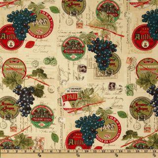 Wine & Cheese Labels Multi   Discount Designer Fabric   Fabric