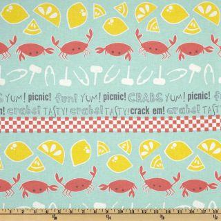 Crabtastic Picnic Aqua   Discount Designer Fabric   Fabric