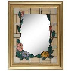 Dale Tiffany Peony Gold 34 High Art Glass Wall Mirror