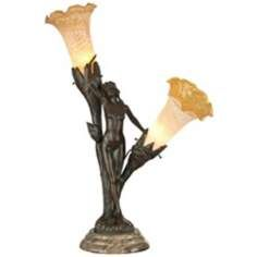 Dale Tiffany Floral Lady Bronze Art Glass Table Lamp