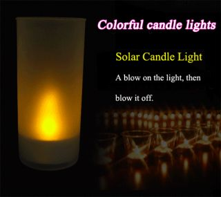 Solar Energy Changing LED Light Candle Lamp Nightlight Colorful