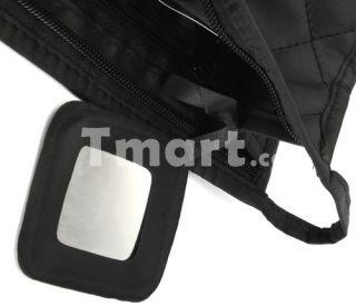 Popular Rhombic Zipper Makeup Cosmetic Travel Bag Black   Tmart