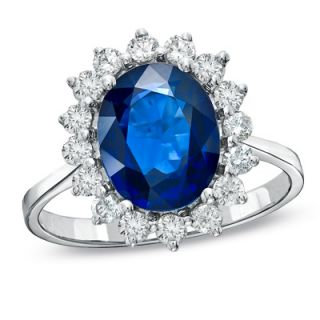 Oval Blue Sapphire and 5/8 CT. T.W. Diamond Frame Ring in 14K White