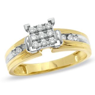 CT. T.W. Composite Diamond Engagement Ring in 14K Two Tone Gold