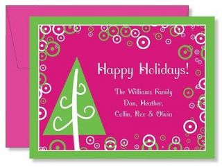 Custom Personalized FLAT Hot Pink Christmas Tree Christmas Note Cards