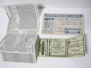 Vintage 1940s Greyhound Bus Lines Ticket + Envelope