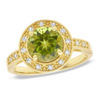 Peridot and Lab Created White Sapphire Ring in 14K Gold Vermeil   Size
